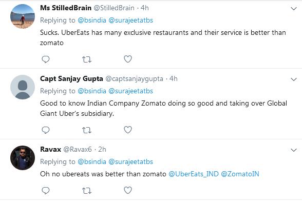 customers responses on zomato acquiring ubereats